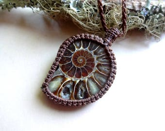 Macrame Fossil Ammonite knotted pendant necklace jewelry