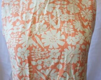Vintage 60s 70s Flower Power Printed Shift Mini Dress // Cotton Floral Block Print High Neck XS S