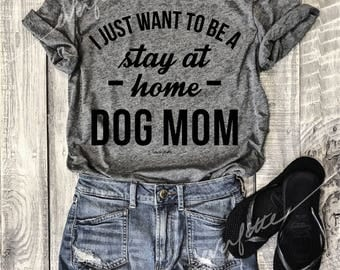 Stay At Home Dog Mom...Heather Grey Unisex Unbasic Tee, Funny Pet Shirt, Adult, Adulting, Graphic Tee, Triblend, Coffee, wine, cabernet