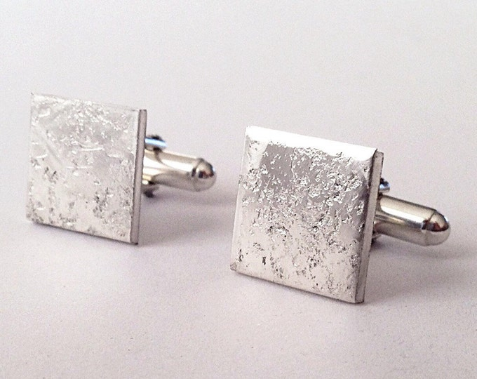 Silver Cufflinks - Distressed Texture - Recycled Sterling Silver