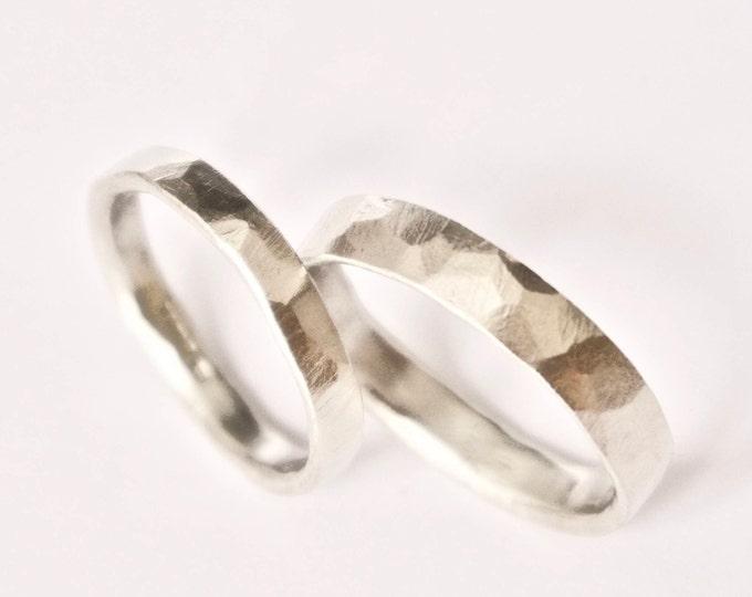 White Gold Hammered Ring - 9 Carat - Flat Hammer Textured Rustic Wedding Band - Men's Women's Wedding Ring
