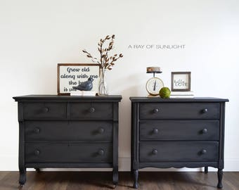 Nice SOLD Pair Of Nightstands   Large Farmhouse Rustic Tables   Matching Antique  Dressers   Vintage Furniture