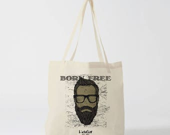 X463Y graphic bag, cotton bag, gift for coworker, diaper bag, shopping bag, bag courses, bag, tote bag, born free, father's day