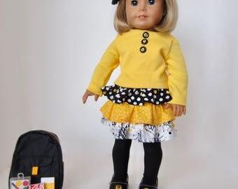 American Girl Doll: Yellow and Black Ruffles