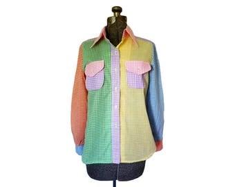 Vintage 1970s Gingham Colorful Patchwork Plaid Shirt / Button Down Blouse (Size Medium)
