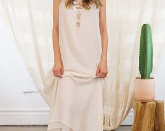 SALE Ivory/Beige Maxi Dress | Maxi Boho Dress Long Casual Dress Free Shipping Evening Dress Beach Wedding Dress  Christmas Gift DSU01