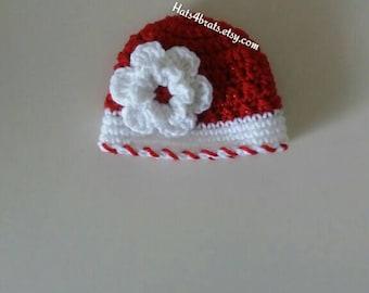 Girls Christmas Hat, Baby Girl Crochet Christmas Hat, Girls Holiday Hat, Crochet Christmas Hat, Infant Christmas Hat, Newborn Christmas, New
