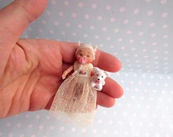 OOAK Baby GIRL doll. MOVEABLE Polymer clay miniature mini art doll. Handmade Dollhouse miniature doll. Artist doll + Dummy