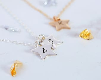 Star Initial Charm Necklace in Silver or Gold | Handmade Gold Star Necklace | Hand-stamped Star Initial Necklace | Silver Star Necklace
