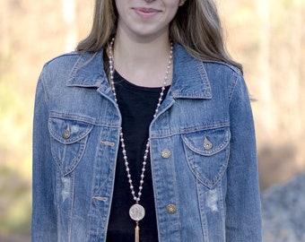 Monogram Pearl Tassel Necklace