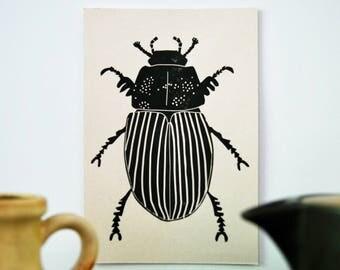Print Mestkever, Print Dung Beetle, Abdruck DungKäfer