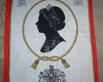 Royal Tea towel. The Queen's silver jubilee 1977. Tea towel. Irish Linen Old Bleach