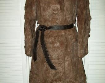 Vintage 1970s Fur Coat, Vintage 1970s full length Rabbit Fur Coat, Vintage Fur Coat, Fur Coat