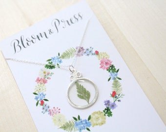 Fern Silver Circle Pressed Flower Necklace
