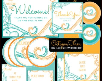 OCTOPUS FAM // Gender Neutral Baby Shower DIY Kit