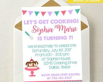 Cooking Invitation | Cooking Birthday Invitation | Cooking Party | Baking Invitation | Baking Party Invitation | Baking Invite | Chef Invite