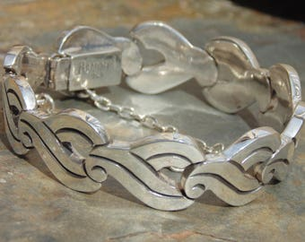 Reveriano Castillo ~ Vintage Thick Gauge Taxco Sterling Silver Bracelet with Aztec Bird Glyph Links - 58 Grams