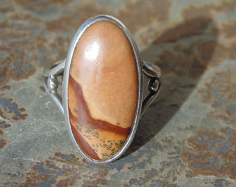 David Epstein ~ Vintage Sterling Silver and Picture Jasper Oval Ring - Size 5.5