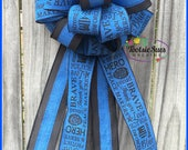 Police Bow, Law Enforcement Bow, Gift Bow, Package Bow, Blue Line Bow, Wreath Bow, Back the Blue Bow,  Basket Bow, Mailbox Bow