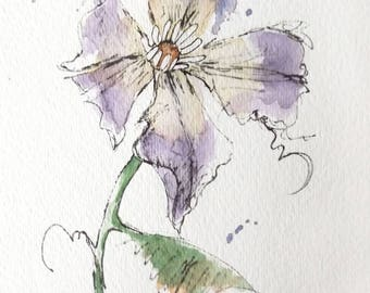 Purple Clematis Flower Original Watercolor Art Painting Pen and Ink Watercolor Hand Painted Flower
