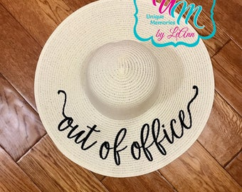 Out of Office floppy Beach Hat, Personalized Straw Hat, Sun hat, Embroidred floppy hat, Beach Hat, Straw floppy Beach Hat, Straw Cruise hat