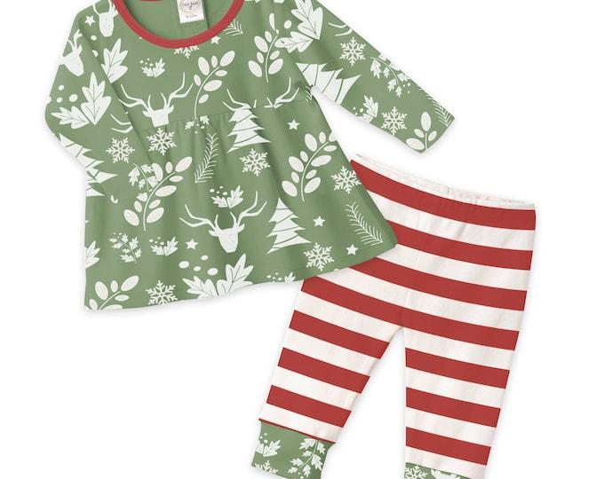 Baby Girl Christmas Outfit, Baby Girl Christmas Top Bottom, Baby Long Sleeve Top Pants, Green Red Candy Stripe, Xmas Girl Baby, Tesa Babe