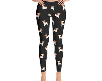 Jack Russell Terrier Leggings, Dog Pattern Women Leggings, Yoga Leggings, Dog Printed Leggings, Jack Russell Yoga Pants, Gifts for her