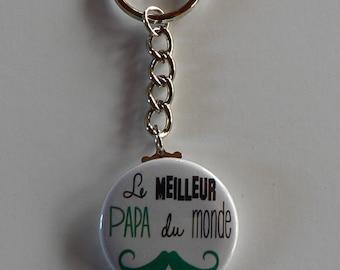 Badge Porte clés 38mm Super Papa Moustache Cadeau Papa.