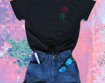 Rose Tshirt • Red Rose Shirt • Flower Tshirt • Single Flower Shirt • Women's Floral Tee • Roses Tshirt • (basic) g500black