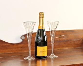 Vintage Crystal Hollow Stem Champagne Flutes Optic Swirl Set of 2