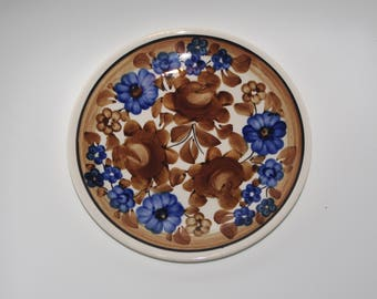 Small decorative folk wall plate hand painted traditional wall dish floral Brown Blue Flowers Polish pottery Wall hanging Polish ceramics