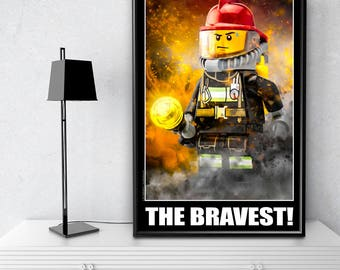 Firefighter Gift for Him, Firefighter Decor, Fireman Gift for Firefighters - Unique Firefighter Wall Art: Extra Large 24x36 Inch Poster