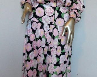 40% OFF Vintage 1980's Silk Floral Dress* Size 8 . MAGGY LONDON . Pink Watercolor Flowers . Front Buttoned . Pleated Skirt . Wedding . Party