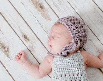 Baby Bonnet, Newborn Photography Bonnet, Crochet Bonnet, Purple Bonnet, Purple Baby Bonnet, Newborn Hat, Knit Bonnet, Crochet Baby Girl Gift