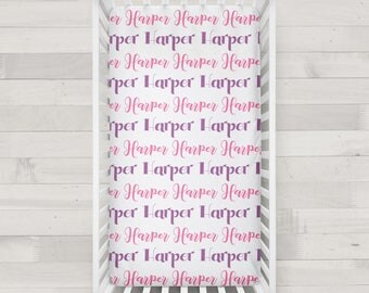 Personalized Crib Sheet in pink and purple - Design your own crib sheet - Made by moms in USA