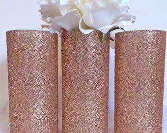 3 rose gold Glass Vase, Rose Gold Vases, Wedding Centerpieces, Gold Centerpieces, Rose Gold Wedding, Wedding, rose gold decoration, vases