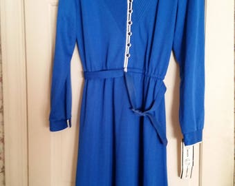 Kenny Classics Vintage Blue Long Sleeve Button to Waist High Fashion Career Wool Blended Dress NWT Size 16