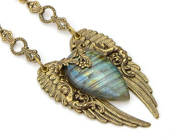 Gold Labradorite Necklace, Goddess Necklace, Angel Wing Necklace, Labradorite, Goddess Jewelry, Jewelry Gift Girlfriend, Jewelry Gift Wife