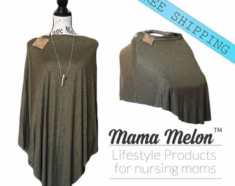 Moos Green Breastfeeding Poncho Dark Green Nursing Poncho Nursing Cover Nursing Shawl Breastfeeding Cover Full Coverage Cover New Mama Gift