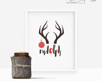 rudolph printable, rudolph print, christmas print, christmas wall art, christmas decoration, reindeer print, reindeer printable, antler