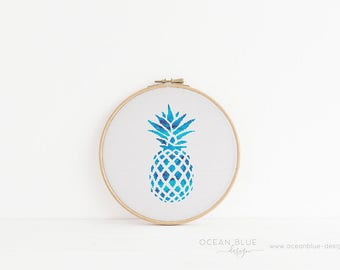 Cross Stitch Pattern, Pineapple, Blue, Aqua, Deep Blue Sea, Palm Beach, Counted Cross Stitch, Embroidery, PDF, ePattern, Instant Download