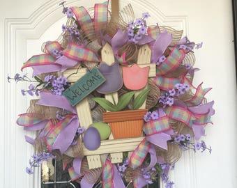 Easter Wreath Purple Spring Wreath Easter Decor Front Door Wreath Welcome Door Hanger Easter Door Hanger