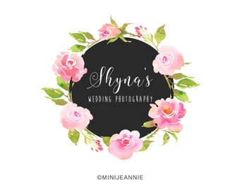 Floral Wreath logo-Flower Logo-Nature Logo-Floral Logo-Business Logo-Premade Logo-Etsy Logo-Branding Package