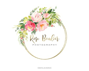 Beautiful floral Logo-Circle Logo-Round Logo-Flower Logo-Etsy logo-Watercolor Logo-Business Logo-Premade logo-Free Font Change