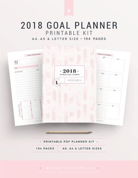 2018 planner planner 2018 goal planner bullet journal. Black Bedroom Furniture Sets. Home Design Ideas