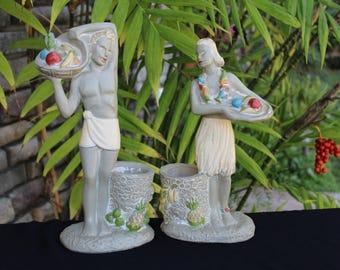 On Sale!! Vintage HAWAIIAN Hula ART DECO Statues 1942