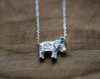 Silver Elephant Necklace - Blue Topaz // Good Luck Charm // Gift For Her // Zilveren Olifant Ketting met Blauw Topaas