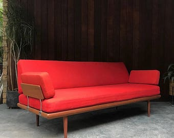 Vintage Peter Hvidt 6ft+ Daybed Removable Arms Mid-Century Danish Modern Rare Chaise Sofa Couch Fifties Denmark France Eames Mad Men