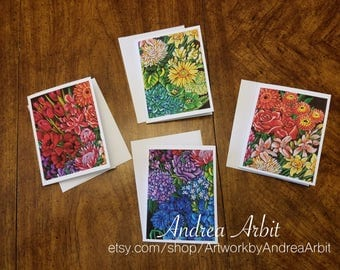 Flower Drawing Prints - Sexuality Bouquet Set - Pack of 4 Blank A2 Notecards