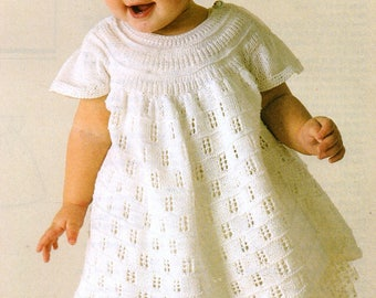 Baby Knitting Pattern pdf Dress with yoke  18-22  chest 4 ply